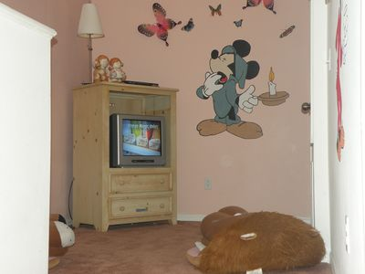 Kiddies T V area with Lion King Chairs and Mickey, Goofy and Tinkerbell cartoons