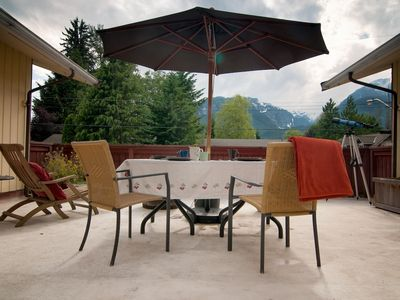 The front deck is large and spacious with spectacular glacier views.
