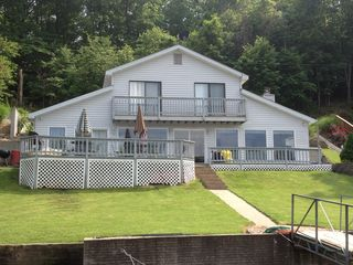 Gravois Mills house photo - Large deck overlooking the lake. Great views from most rooms.