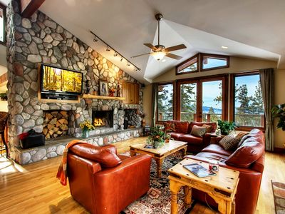 Sit down and relax to a nice fire while viewing the lake and local mountains.