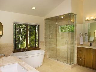 Vail apartment photo - Spa-like master bath with stand alone tub, large shower and two vanities