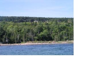 Baddeck house photo - View from the water of beach & property
