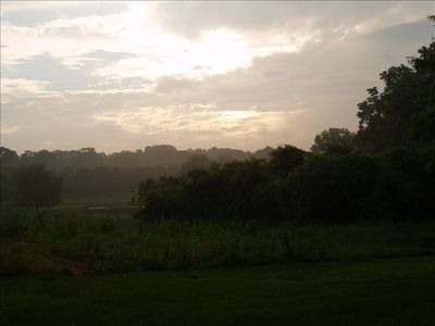 View of field at sunset