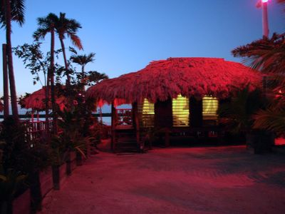 Palapa room at night.