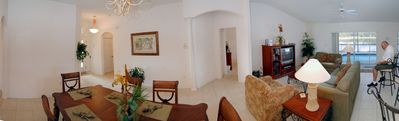 Panoramic view of the spacious living space