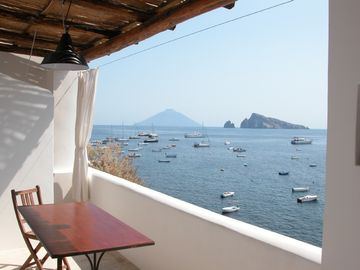 View of Stromboli and Basiluzzo from terrace