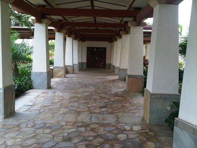 Walk from Beach Tower to the pool and spa areas