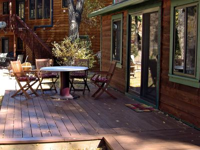 Estes Park cabin rental - Deck, Chairs, & Table Looking North