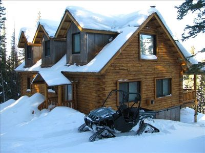 Blair Mountain Cabin in winter with 4 wheel drive Rhino (additional charge)