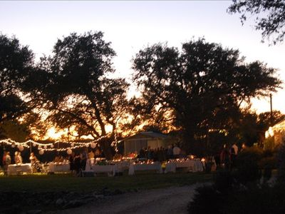 An evening wedding behind the Main House