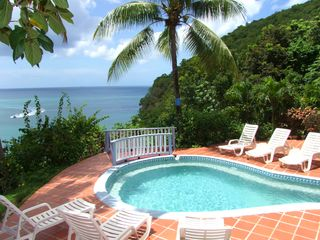 Marigot Bay apartment photo - Pool and the view over the Caribbean Sea and Marigot Bay