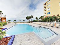 3BR Oceanfront w/ Balcony, Gulf Views & Pool - Walk to Shops & Eateries