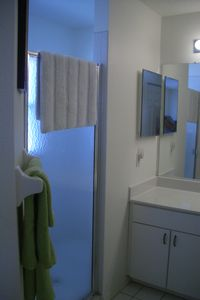 Master bathroom with large shower. Separate toilet w/door on the right.