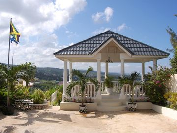 The Pavillion over looking the panoramic views of mountains and ocean