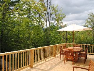 Wilmington chalet photo - Outdoor dining area! Beautiful deck, dining, hot tub and views!
