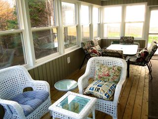 Miminegash cottage photo - Verandah, with large table for meals, or comfortable sitting area to chat.
