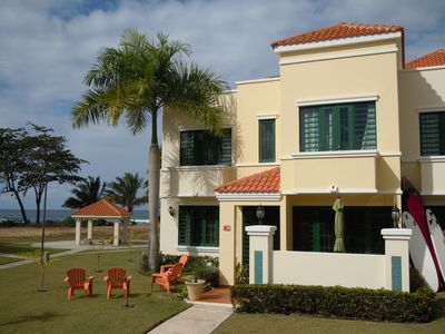 Rincon villa rental - Front of Ocean-front Villa in peaceful & quite gated-community. Plenty of chairs