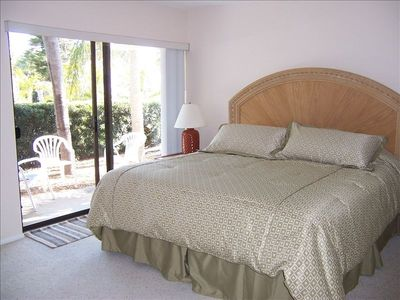 Bedroom-King size bed/ enjoy coffee or a glass of wine on the patio