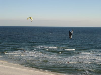 Enjoy watching wind surfers from balcony
