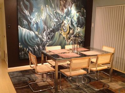Glass Parson's table, Brauer chairs & Dirk Guidry original painting.