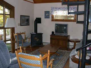 Schroon Lake chalet photo - Living Room and part of the lakefront deck