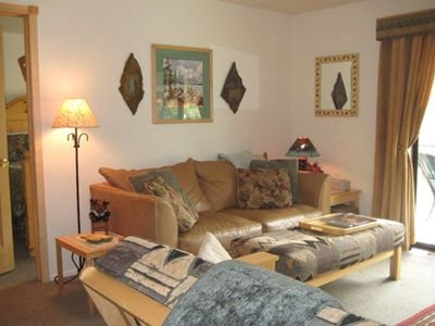 Red Pine Condo: Comfy leather sleeper-sofa and solid pine door to bedroom.