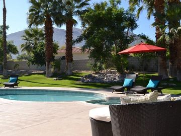 Rancho Mirage house rental - Gorgeous mountain views from spacious backyard with pool and spa