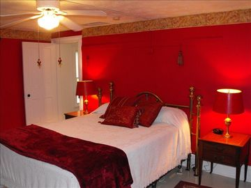 High Drama Red Master Bedroom w/Antique Queen Size Bed