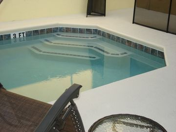 private screened pool can be heated for additional fee