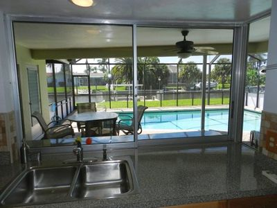 View of pool from the kitchen.