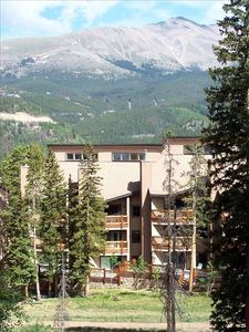 View of condo from the back with Mt. Baldy in the background