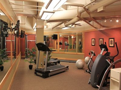 Silver Mill exercise room located in the heated parking garage behind elevator.