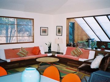close up of built in Mid-century living room and den
