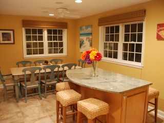 Rehoboth Beach house photo - Breakfast/dining area with island + wine chiller!