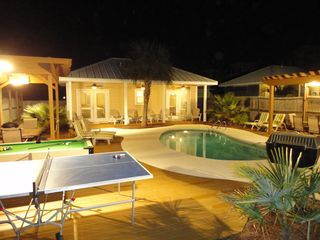 "Crystal Beach house photo - ""Seawatch"" Backyard at Night...."