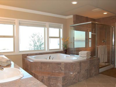 Master bathroom with jacuzzi tub and shower for two.