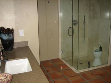 Glass enclosed shower in one of bedroom suites