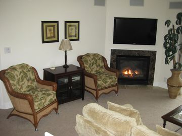 Left side of Living Room with Gas Fireplace and Samsung HD TV