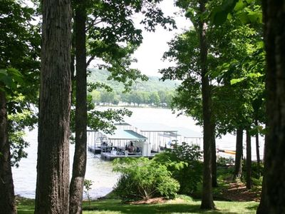 View of Dock and mature trees on 1 acre