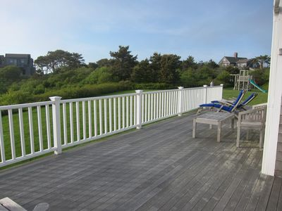 large deck with water views
