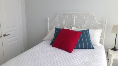 Comfortable new double bed with fresh cotton linens.
