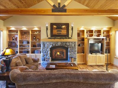 A cozy fireplace in the Great Room and 42 inch flat screen TV,