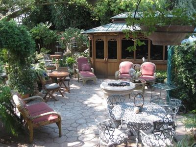 Old english secret garden of serenity with cedar gazebo w/ jacuzzi and firepit