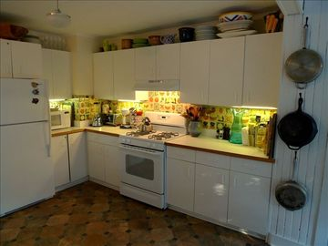 kitchen with country tiled back walls