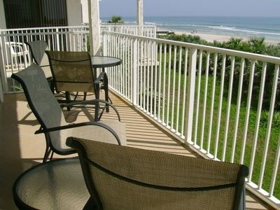 Balcony off the living room that overlooks the beach