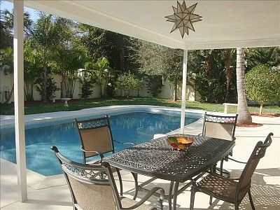 Covered Porch Overlooking Heated Pool !