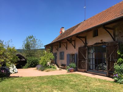 Comfortable, sunny,  renovated farmhouse  with pool and fine views.