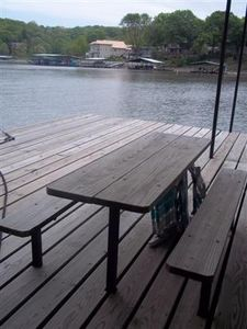 Built in picnic table on dock