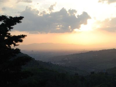 View of Florence and dome at sun set from the property