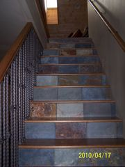 Stairway to loft and master suite - Williams house vacation rental photo